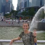 Singapore Merlion with a woman