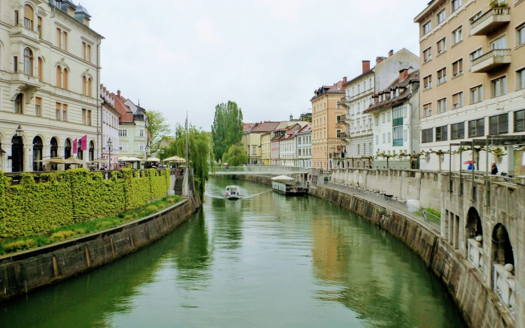 Ljubljana Slovenia stream with green water