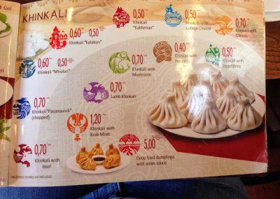 Price menu of Khinkali Georgian Dumplings