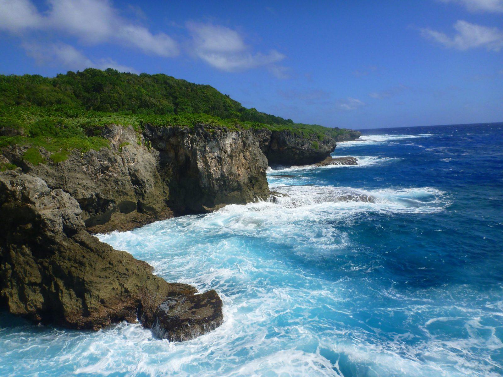 Guam coast line with waves